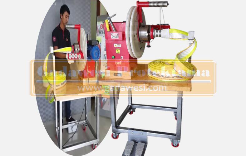 mesin pengikat selang pemadam (fire hose binding machine)